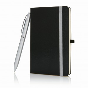A6 notebook with pen in gift box, black (P773.591)