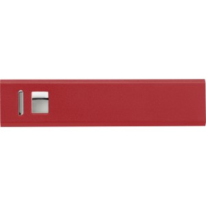 Aluminium power bank with 2600mAh Li-ion battery, Red (4199-08CD)