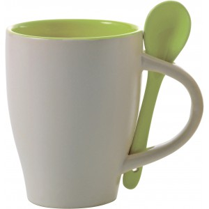 Coffee mug with spoon (300ml), lime (2855-19CD)