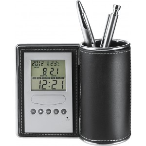 Desk tidy and clock, Neutral (3685-00)