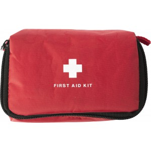 First aid kit in nylon pouch, Red (1342-08CD)