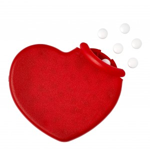 Heart shaped plastic mint card, Red (1484-08)