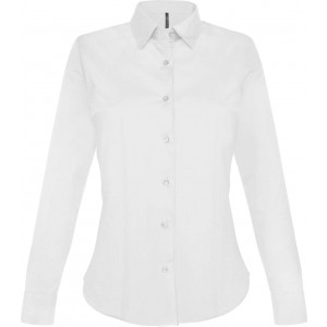 Kariban Ladies Long Sleeve Shirt, White, 2XL (KA530WH)