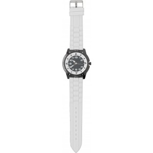 Large, alloy and mineral glass watch for men, White (6495-02)