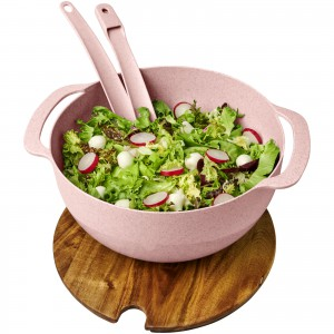 Lucha wheat straw salad bowl with servers, Pink (Plastic kitchen equipments)
