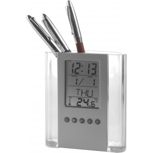 Pen holder with clock, no colour (3684-00)