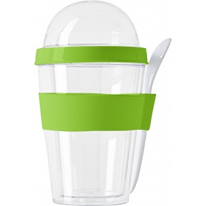 Plastic breakfast mug with separate compartment., Light gree (2146-19)