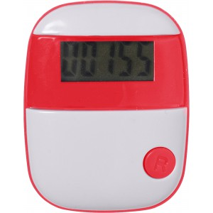 Plastic pedometer with a step counter., Red (4453-08)