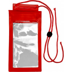 Plastic waterproof protective pouch for mobile devices, Red (7811-08)