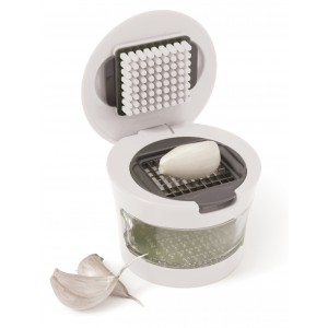Plastic with stainless steel garlic cutter, White (7263-02)