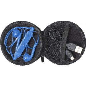 Pouch with in-ear earphones, Cobalt blue (7890-23)