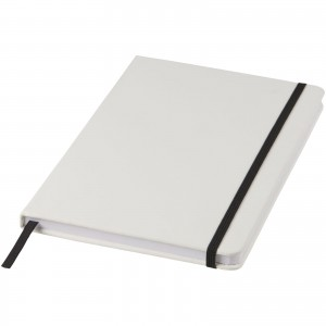 Spectrum A5 white notebook with coloured strap, White, solid black (10713500)