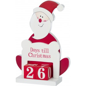 Wooden stand decoration of Santa Claus, Red/white (4729-48)